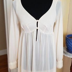 VTG Gorgeous Cream Fur Cuffed Nightie Dress